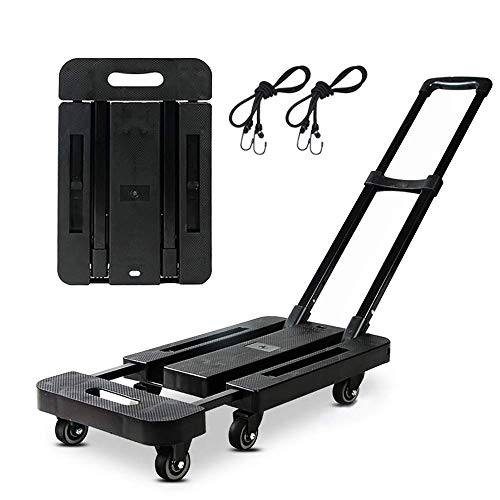 Folding Hand Truck 400 lbs/180KG Capacity,Dulcii Folding Trolley Platform Cart 6-360° Rotating Wheel for Luggage, Travel, Shopping, Auto, Moving and Office Use