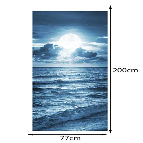 PYUK 2 Panelen Maanopgang Op Blauwe Oceaan Art Fotobehang Muurstickers Deur Sticker Wallpaper Decals Home Decoratie