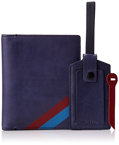 Fossil Men's Passport and Luggage Tag Gift Set Navy, One Size