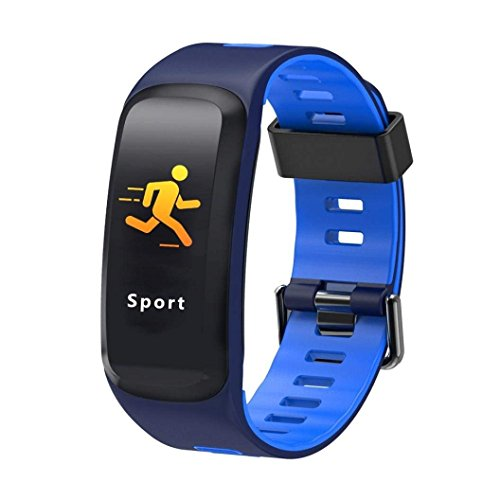 IP68 impermeable Fitness Tracker pulsera de actividad con pulsómetro, podómetro, calorías, presión sanguínea, Sangre oxígeno, Bluetooth 4.0 inteligente banda para Android/iOS, iPhone 8, iPhone X