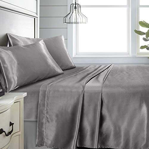 Niagara Sleep Solution Full Grey Bed Sheet Set 4 Pieces Silky Smooth Bridal Satin Deep Pocket Fitted, Flat, 2 Pillow Cases Wrinkle Stain, Fade Resistant (Grey Satin, Full)