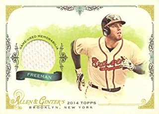 2014 Topps Allen & Ginter Relics #FRB-FF Freddie Freeman Game Worn Jersey Baseball Card