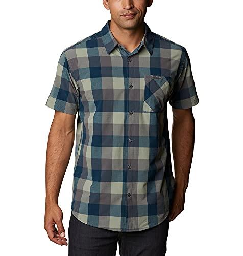 Columbia Triple Canyon Camisa de Manga Corta, Hombre, Gris (City Grey Grid Buffalo), S