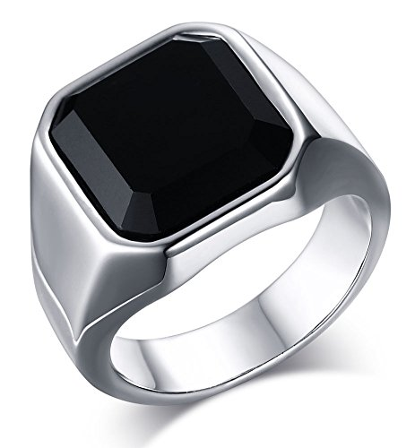 MEALGUET Jewelry Fashion Stainless Steel Signet Ring with Black Agate for Men, Size 9