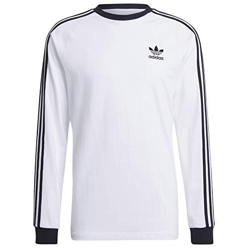 adidas Originals 3-Stripes Long Sleeve tee Camisa, Blanco, XXL para Hombre