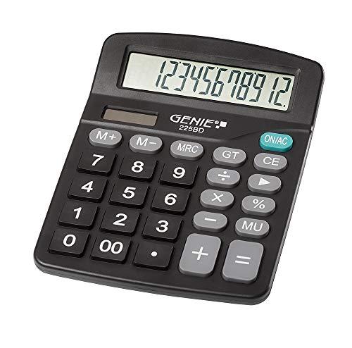 Genie 225 BD 12-cijferige rekenmachine, Dual Power (zonne-energie en batterij), compact design, zwart
