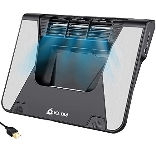 KLIM Airflow + Entra Aire frío, Sale Aire Caliente + La Mejor refrigeración para tu portátil + Turbina de Flujo Cruzado para Mayor Rendimiento + Materiales de Calidad, 5 años de garantía + 10-17'