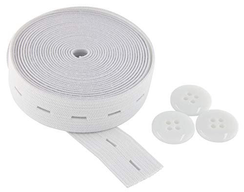 Flat Sewing Band Spool with Buttonholes, Elastic Stretchable, Ideal for DIY Waistbands and Necklines (White, 3/4 inch × 3 Yards)