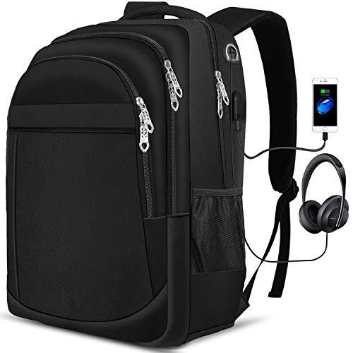 PUREBOX Laptop Rucksack Herren Tasche 17,3 Zoll Wasserdicht Arbeit Rucksack Schulrucksack mit USB-Ladeanschluss und Kopfhörerschnittstelle Business Daypack Wanderrucksack, 45L (Schwarz)