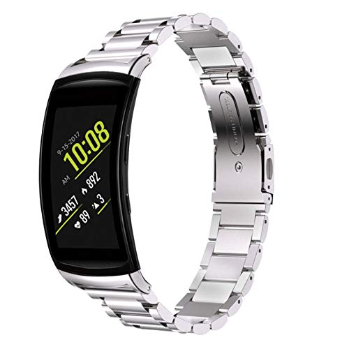 "Gear Fit 2 Armband, BFISOD 5.51""-8.46"" Verstellbarer Uhrenarmband-Faltverschluss Edelstahl-Ersatzband Kompatibel mit Samsung Gear Fit 2 /Gear Fit 2 Pro Smartwatch für Damen Männer (Silber)"