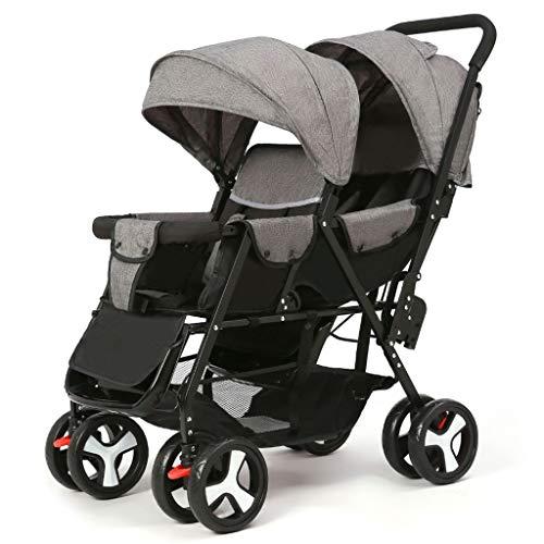 Jiji dubbele kinderwagen, inklapbaar, dubbele kinderwagen met muggennet, 5 punten, veiligheidsgordel met zes wielen, kinderwagen