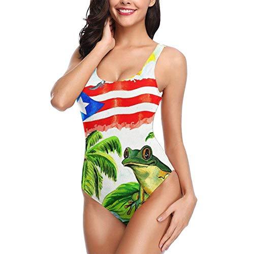 lasesasies Guter Schlaf mit Puerto Ricos einteiligem Badeanzug für Froschfrauen. Backless Tummy Control Swimwear