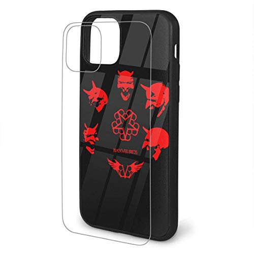 Fashion iPhone 11 Pro Max Protective Shell,9h Tempered Glass Back Cover Pattern Design + TPU Soft Shell Protective Shell,Suitable for iPhone 11 Pro Max - Black Veil Brides
