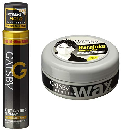 Gatsby Set and Keep Spray Extreme Hold, 250ml And Gatsby Styling Wax Mat and Hard, 75g