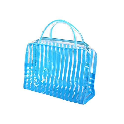 Trousse à Maquillage Transparent Stripe Makeup Bag Waterproof Travel Wash Storage24.5 * 9 * 17cm -Blue_24.5 * 9 * 17cm_