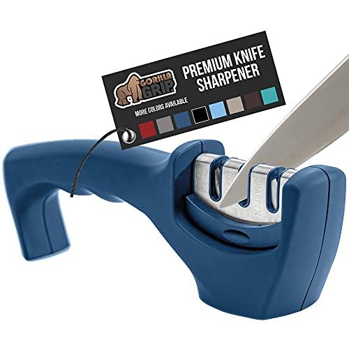 Gorilla Grip, Knife Sharpener for Sharper Knives, Professional Chef 3-Stage Design, Easy Manual...