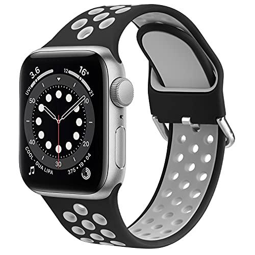 OBABA Silicona Correa Compatible con Apple Watch 44mm 42mm 40mm 38mm,Pulseras de repuesto Deportivo Transpirable Suave Silicona para iWatch Series 6 5 4 3 2 1 SE (42mm/44mm S/M, Negro gris)