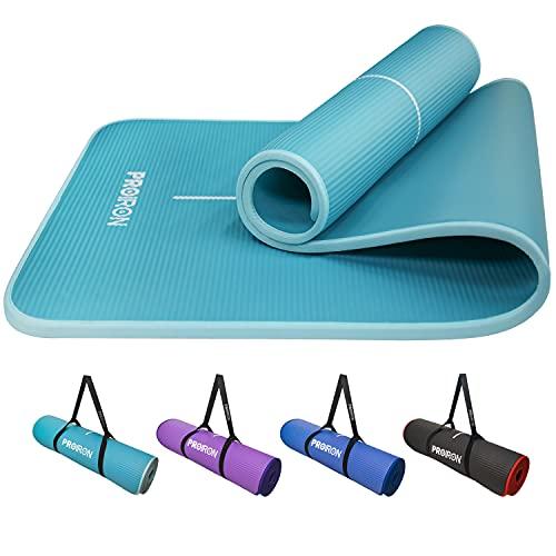 PROIRON Esterilla Yoga Gruesa 183cm x66cm x10mm - Colchoneta Antideslizante NBR para Pilates Ejercicios Fitness Gimnasia Estiramientos (Azul + Verde)