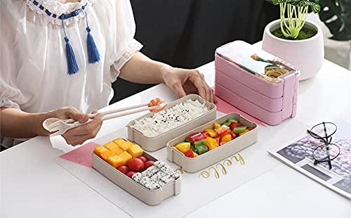 Zay Luay Caja de almuerzo para estudiantes, conjunto de cubiertos de paja de trigo, compartimento de tres capas de plástico, lavavajillas y caja de microondas, caja de almuerzo de cocina saludable par