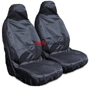 2   HEAVY DUTY BLACK WATERPROOF SEAT COVERS 1-1
