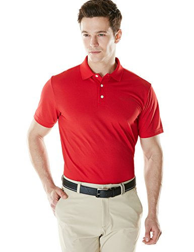 Tesla TM-MTK01-RED_Large Men's Hyper Dri Polo Active Sports Performance Short Sleeve Shirt MTK01