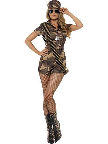 Luxuspiraten - Damen Frauen Camouflage Soldatin Kämpferin Kriegerin Armee Army Girl Kostüm mit Jumpsuit, Gürtel und Mütze, perfekt für Karneval, Fasching und Fastnacht, XL, Grün