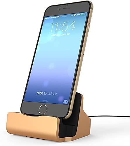 Estación de carga para iPhone, carga rápida para smartphones, soporte de mesa para iPhone 11, 11 Pro, 11 Pro Max, Xs, Xs Max, XR, X, 8, 8 Plus, 7 Plus, 6, 6s, 6 Plus, 6s Plus, SE (dorado)