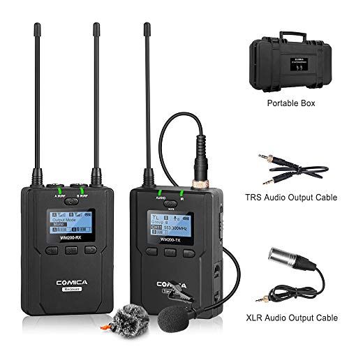 wireless-lavalier-microphone-system%ef%bc%8ccomica-cvm-wm200c-uhf-96-channels-professional-wireless-lapel-microphone-for-canon-nikon-panasonic-sony-fuji-dslr-cameras-camcorders-smartphones-etc-rxtx