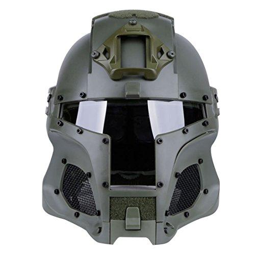 Mittelalterliche Eisenritter Tactical Helm, Vollgesichtsmaske mit Goggle, Schutzhelm für Airsoft Paintball Klare schützende Schablonen-Militär Halloween-Kostüm,Grün