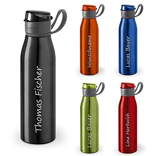 polar-effekt Personalisierte Trinkflasche mit Namen 650 ml Farbe schwarz - Auslaufsichere Aluminium Sportflasche LASERGRAVUR - Geschenk-Idee für Kinder zum Geburtstag