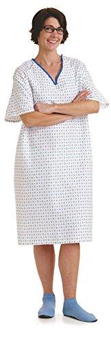 Medline MDTSG3IOLDEMZ Overlap Back Closure IV Patient Gown, 42' Length, 2.25' in Sleeve, 54' Sweep of Gown or Robe, Universal, Demure Print (Pack of 12)