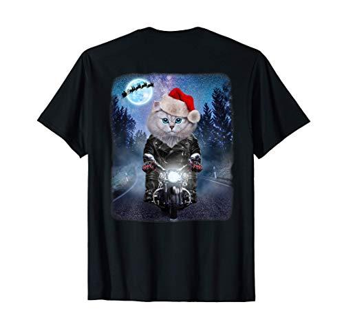 Chat blanc portant un chapeau de père Noël à moto T-Shirt