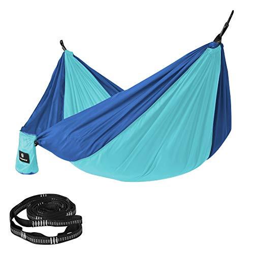 Songmics GDC14BU Hangmat, ultralicht, draagbaar en ademend, voor 2 personen, van parachutenylon, 275 x 140 cm, met premium bevestiging, voor op reis, outdoor, camping, tuin