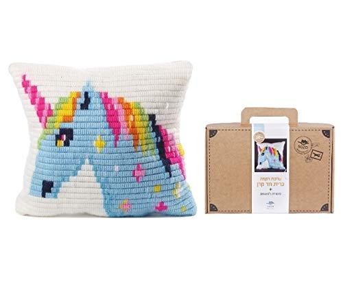 Sozo DIY Needlepoint Cross Stitch Embroidery Pillow Kit for Kids - Unicorn...