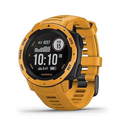 Garmin Instinct Rugged Outdoor Smartwatch, Built-in Sports Apps and Health Monitoring, Sunburst Yellow (Renewed)