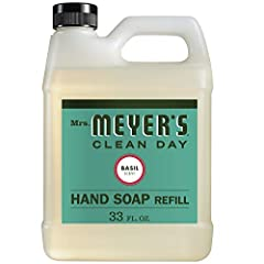 Hard-working, non-drying soap refill for busy hands Liquid hand soap made with essential oils, aloe vera, olive oil, and other thoughtfully chosen ingredients Garden-fresh Basil scented hand soap has a cool, crisp scent that is uplifting & grounding ...