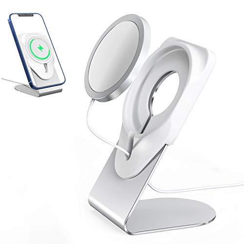 ENQINN Ständer für MagSafe-Ladegerät, Handy-Dockingstation für Schreibtisch, kompatibel mit Apple MagSafe-Ladegerät für iPhone 12, 12 Pro, 12 Pro Max, 12 Mini (Silber)