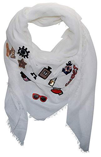 ACC Maxi Damen Schal mit Sticker Patches Applikationen Blogger Stickerei Patch quadratisch XXL groß (weiß)