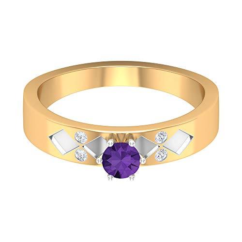 Anillo de compromiso de lavanda de 4 mm, diamante HI-SI, anillo solitario con piedra lateral, anillo de compromiso para ella, oro de 14 quilates, Metal, Diamond Creado en laboratorio de lavanda,