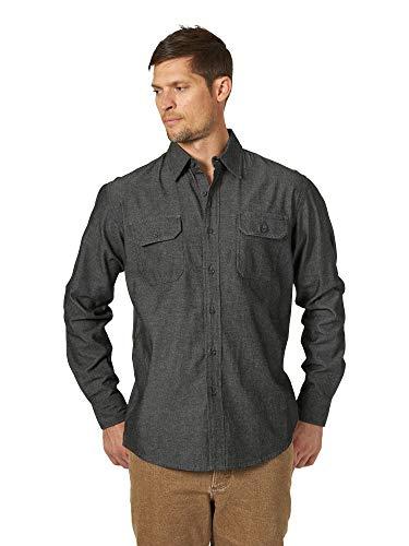 Wrangler Authentics Men's Long Sleeve Classic Woven Shirt, black denim, M