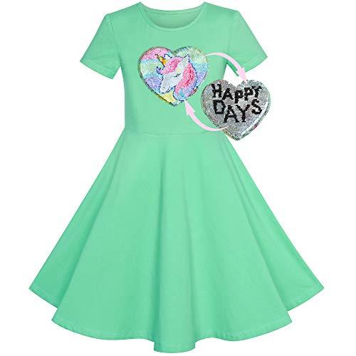 Vestido para niña Algodón Verde Unicornio Lentejuela Manga Corta Casual 6 años