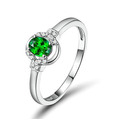 Daesar Anillo Compromiso Mujer Oro Blanco 18K,Oval Tsavorita Verde 0.29ct Diamante 0.05ct,Plata Verde Talla 17