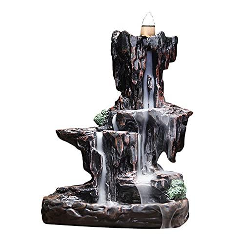 LQKYWNA Quemador De Incienso De Reflujo En Cascada, Creativo Decorativo Aroma Estufa Titular Montaña Montaña Agua Decoración De Resina para Oficina En Casa