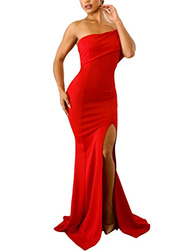 ZKESS Women's Solid Off The Shoulder One Sleeve Slit Maxi Party Prom Dres Red M