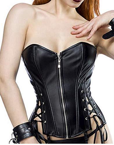 Beverla Steampunk - Corsé de piel sintética para mujer, talla grande, color negro Negro EUR(40-42)XXL (Ropa)