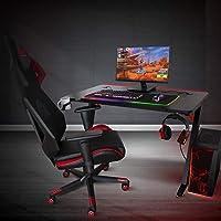 Spirit Of Gamer - HEADQUARTER 300 - Gran Mesa de Juego Ergonómica RGB/Mesa de Juego LED de Efecto Carbono de Madera Maciza/Robustas Patas de Metal / 2 Cables de Gestión