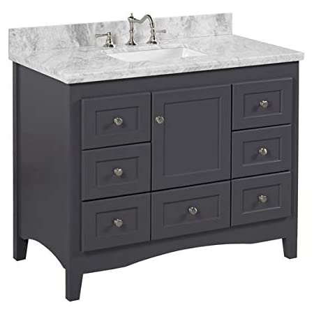 Amazon Com Abbey 42 Inch Bathroom Vanity Carrara Charcoal Gray Includes Charcoal Gray Cabinet With Authentic Italian Carrara Marble Countertop And White Ceramic Sink Kitchen Dining