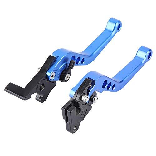 Motorradbremshebel, 1 Paar Leichtgewichtiger Aluminium-Motorradbremshebel mit Motorradgriff(Blau)
