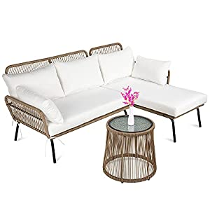 Best Choice Products Outdoor Rope Woven Sectional Patio Furniture L-Shaped Conversation Sofa Set for Backyard, Porch w/Thick Cushions, Detachable Lounger, Side Table - White
