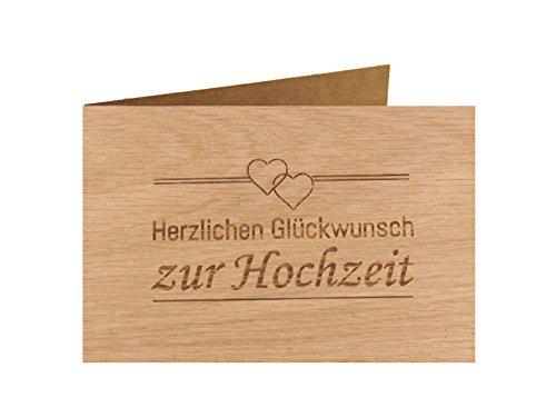 Holzgrußkarte - Hochzeitskarte - 100% handmade in Österreich - Postkarte Glückwunschkarte Geschenkkarte Grußkarte Klappkarte Karte Einladung, Motiv:HERZLICHEN GLÜCKWUNSCH ZUR HOCHZEIT Eiche